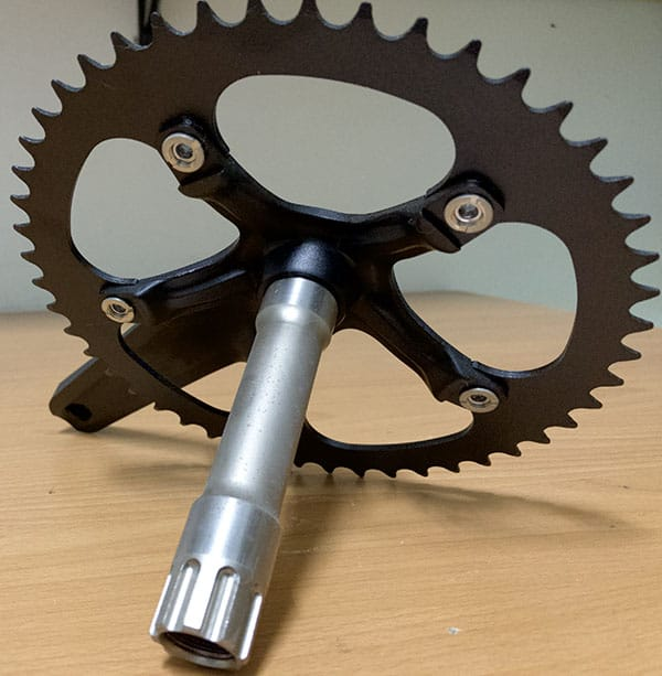 integrated crank with spindle connected to crank arm
