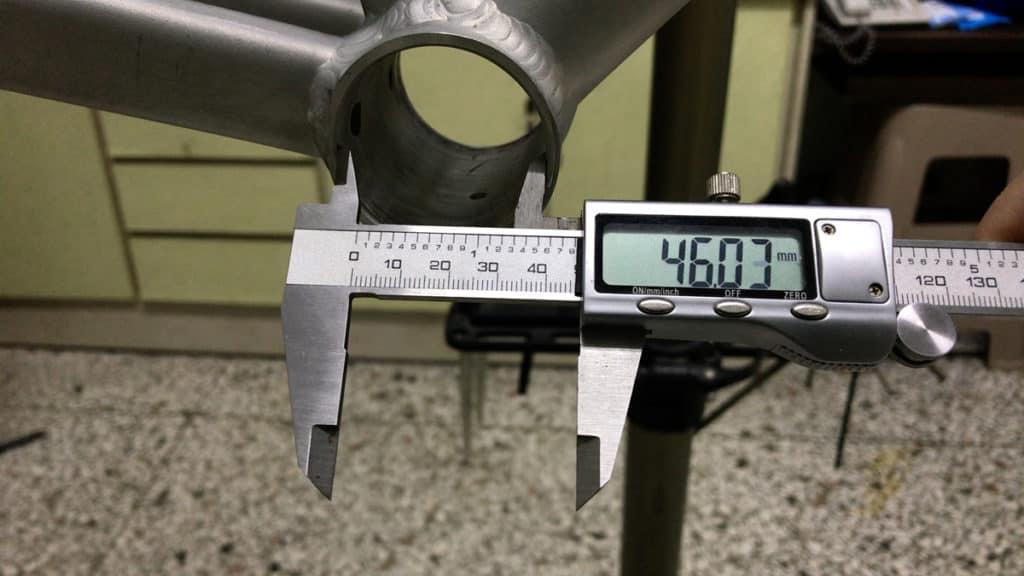 46mm Bottom Bracket Shell measured with vernier