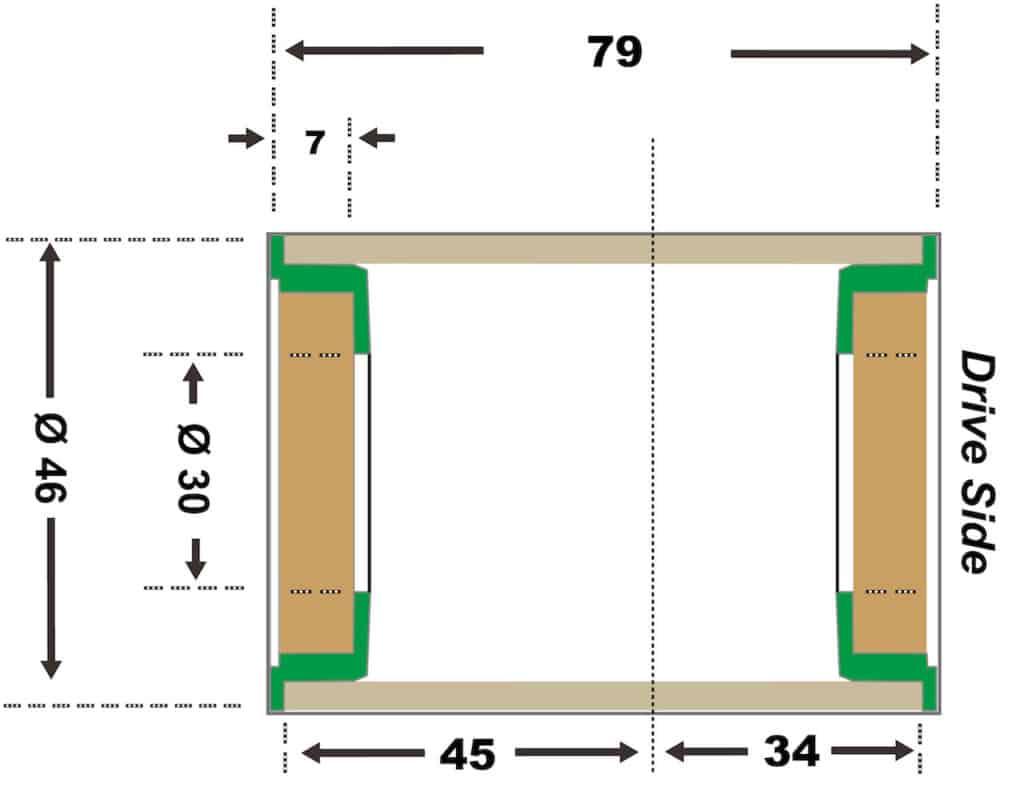 BBRight Press Fit Bottom Bracket Spec Diagram
