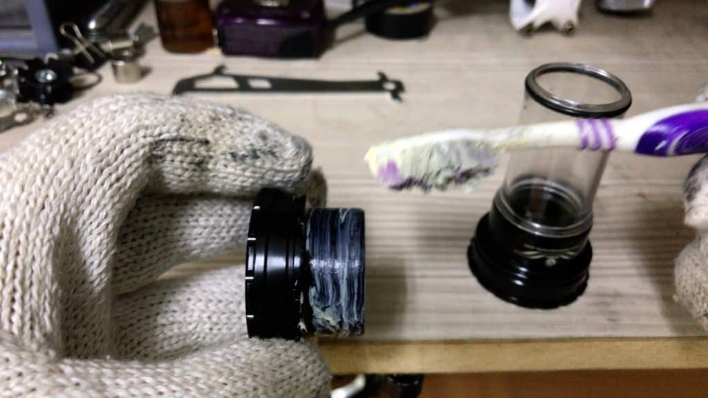 greasing  a Bb92 Bearing Cup