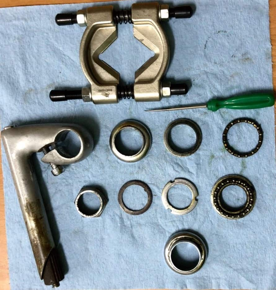 old threaded headset and stem parts